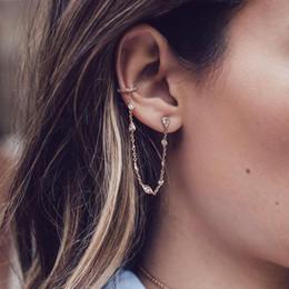 $enCountryForm.capitalKeyWord Australia - A Piece Long Chain Small Bezel Cz Link Chain Sparking Bling Fashion Jewelry 925 Sterling Silver Women Girl Link Chain Earring T190625