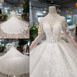 Embroidery Short High Neck Gown Australia - 2019 Elegant Lace Wedding Dresses High Neck Illusion Long Sleeve Vintage Bridal Gowns princess muslim wedding dress Plus Size robe de mariee