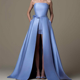 $enCountryForm.capitalKeyWord UK - Blue Strapless Prom Dresses Satin Bow Sashes Girls Pageant Gowns With Wraps Floor Length A Line Women Formal Clothing