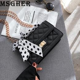 Designers Handbags For Ladies Australia - MSGHER Shoulder Bags for Women Luxury Designer Handbags Ladies Silk Ribbon PU Chain Crossbody Bags Quality Hasp Bgas