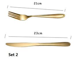 $enCountryForm.capitalKeyWord Australia - SET 2 Gold color Stainless Steel Dinnerware Sets Tableware Knife Fork Teaspoon Luxury Cutlery Set Tableware Set