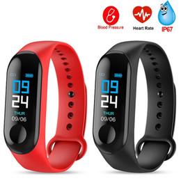 M3 além de banda pulseira de fitness inteligente pulseira big touch screen lembrete freqüência cardíaca rastreador smart watch banda para android ios em Promoção