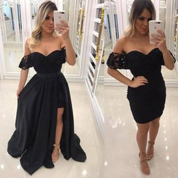 Short Red Lace Prom Vintage Dress Australia - Vintage Black Off Shoulder Prom Dresses Sweetheart Lace Beaded Sheath Mini Short Prom Gowns With Side Split Detachable Skirt