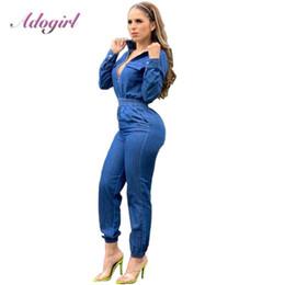 Wholesale deep denim jeans resale online – Adogirl autumn women long sleeve Jeans Denim Jumpsuit Casual zipper up Deep V Neck Jeans rompers Sexy streetwear outfit overalls