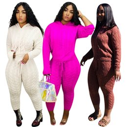 Wholesale sportswear sweater pants resale online – Women solid sweater piece set knit fall winter clothes hoodies pullover pants sportswear shirt leggings outfits outerwear bodysuits