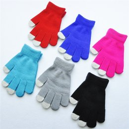 Green Gloves kids online shopping - 6 Colors Children Kids Gloves Winter Cold Protection Gloves Girl Boy Student Knitted Glove Candy Color Separate Full Finger Mittens H926Q F
