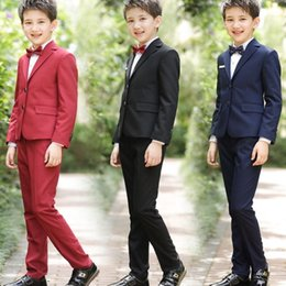 Formal Suits For Children Australia - Beach Children Suits for Weddings Party Suits Black Wedding Suits Kids Big Boys Formal Formal Attire Clothes (Jacket+Pants+Vest+Bow tie)