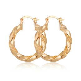 Discount romantic tops for women - Top Quality Small Simple Romantic Jewelry Gold Color Round Twist Hoop Earrings For Women ZK50 Brinco Feminino Gifts 30MM