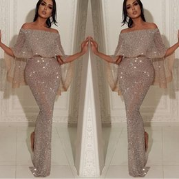 c7d014b32c 2019 Newest Dubai In Abaya Mermaid Prom Dresses Off The Shoulder Long Sequin  Sparkly Evening Gowns
