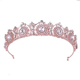 $enCountryForm.capitalKeyWord UK - Hair Jewelry Fashion Engagement Rose Gold Luxury Round Crystal Queen Crown Wedding Pageant Tiara Headband For Bride Women Hair Accessories