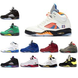 Discount mesh fire - Wings Laney 5 5s Basketball Shoes V Camo Grey Black Grape Blue Suede Brown Fire Red International Flight Oregon PE sport
