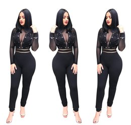 7bf3945c5422 Women Club Sexy Jumpsuit Luxury Grenadine Long Sleeve Romper Designer  Clothes Plus Size Bodysuits Womens Clothing
