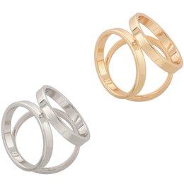 $enCountryForm.capitalKeyWord Australia - 2Pcs(Golden + Silver) Women Lady Girls Three Ring Fashion Scarf Ring Buckle Modern Simple Triple Slide Jewelry Silk Scarf Clasp
