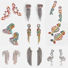 Discount unique luxury gifts - Best lady Unique Glass Crystal Birds Tassel Long Earrings for Women Luxury Wedding Gifts Fish Pineapple Fringed Drop Ear