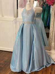 Wholesale glitter fabric color for sale - Group buy Glitter Pageant Dresses for Teens Gorgeous Ice Blue Glitter Fabric Straight Skirt with Overskirt Girl Pageant Party Gowns