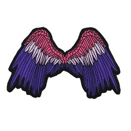 biker badges patches UK - WING LADY punk embroidered iron on backing biker patch badge for jacket jeans bags vest 10 pieces  LOT