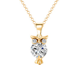 Cute long Chain neCklaCe online shopping - Cute Female Owl Animal Pendant Necklace Fashion Silver Gold Color Wedding Necklace Elegant Crystal Party Long For Women