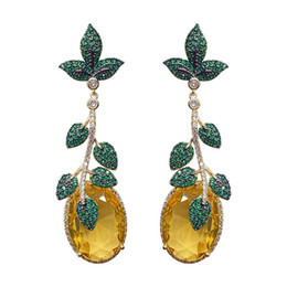 gold leaves Australia - Yellow Gem Leaves Earrings For Lady Brand Design Wedding Party 18K Gold Plated Earring Luxury 925 Silver Needle Long Dangler Jewelry