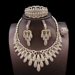 Bridesmaids African Fashion Australia - for women gift fashion personality Dubai African bridal bridesmaid bridesmaid Wedding zircon big Jewelry Set necklace earrings