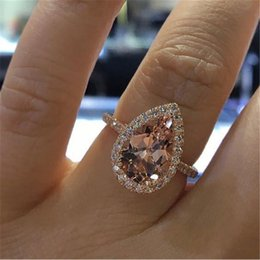 $enCountryForm.capitalKeyWord Australia - Elegant Zircon Ring Jewelry Rose Gold Color Champagne CZ Stone Engagement Wedding Ring for Women