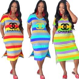 $enCountryForm.capitalKeyWord Australia - Women Desinger Stripe Bodycon Dresses Brand CHAN Letter Gold Stamping Dress Fashion Ombre Strip Dresses Luxury Dresses Causl Cloting C7306