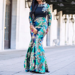 elegant night green dresses NZ - Vintage Green Long Sleeve Mermaid Sequins Dress Sparkly Elegant Plus Size Shiny Party Evening African Long Dresses for Women Y200101