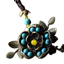 long bronze chain Australia - Chinese Style Retro Long Necklace Female Blue Bronze Flower Red Chalcedony Pendant Rope Chain