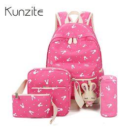 Cute Dresses For School UK - 4Pcs Sets New Women Backpacks Cartoon Rabbit Printing School Backpack Canvas Schoolbags for Teenage Cute Girls Bookbag Children