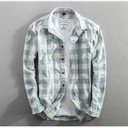importing clothes Canada - 2019 Spring And Autumn Vintage China Style Classic Plaid Cotton Long Sleeve Blue Male Casual Slim Fit Shirt Import Clothes MX200518