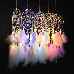 $enCountryForm.capitalKeyWord NZ - Handmade LED Moon Light Dream Catcher Feathers Car Home Wall Hanging Decoration Ornament Gift Dreamcatcher Wind Chime