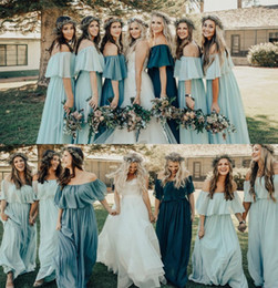 Chinese  New Fashion Custom Made Off Shoulder Cheap Bridesmaid Dresses Backless Pleats Plus Size Bridesmaid Gowns For Country Garden Weddings BM0350 manufacturers