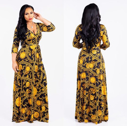 womens african dresses Australia - 2019 Fashion Traditional African Womens Clothing Long Sleeve Flora Printed V-Neck Beach Dresses Summer A-Line Chiffon Bohemian dress