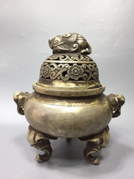 $enCountryForm.capitalKeyWord UK - Rare Chinese old Tibetan silver Hand carved Elephant incense burner