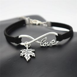 Wholesale New Vintage Antique Silver Infinity Love Plant Tree Leaves Maple Leaf Charm Black Leather Suede Bracelets Bangles Personality Lucky Jewelry