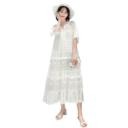 $enCountryForm.capitalKeyWord Australia - Pengpious 2019 Summer Pregnant Women Short Sleeve V-neck Lace Dress Ankle-length Maternity Loose Maxi Dress White+beige Lining