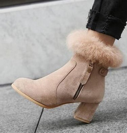 knight hair Australia - New Arrival Hot Sale Specials Super Fashion Influx Custom Cotton Martin Knight Rabbit Hair Size Zipper Party Heels Ankle Boots EU34-43