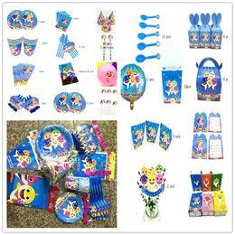 $enCountryForm.capitalKeyWord Australia - Baby Shark Party Supplies Kids Birthday Party Balloon Straws Cup Banner Gift Packing Bags Boy Girl Theme Ideas Tableware Set 195pcsA52102