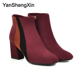 $enCountryForm.capitalKeyWord Australia - Wholesale Shoes Woman Boots 3 Patchwork Knight Ankle Boots High Heels Women Shoes Autumn Winter Boots Large Size Fashion Ladies Booties