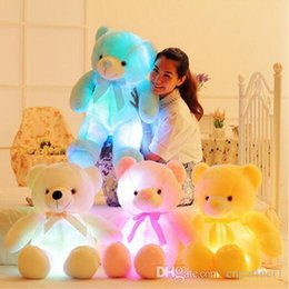 Wedding stuffed animals online shopping - fast ship cm cm Colorful Glowing Teddy Bear Luminous Plush Toys Creative Light Up LED Teddy Bear Stuffed Doll for Kids Christmas Toys