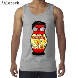 Russian Doll vest cute sleeveless printed t-shirt men's shirt 100% Summer Cotton classic T-shirt