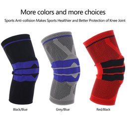 basketball silicone 2019 - Silicone Knee Pad Knitted Weaving Compression Spring Knee Protector Brace Basketball Sleeve Support Sport Guard cheap ba