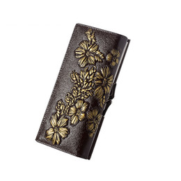 Design Genuine Leather NZ - good quality Fashion Floral Carved Design Leather Wallet Women Genuine Leather Card Holder Wallet Female Long Design Lady Clutches