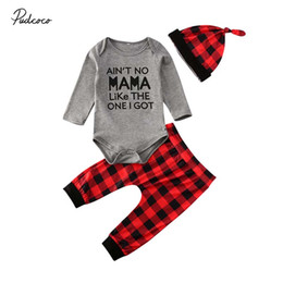 funny baby outfits UK - 2020 Plaid 3Pcs 0-18M Funny Letter Print Newborn Toddler Infant Baby Boy Girl Clothes Long Sleeve Romper Tops+Pants Outfits Set