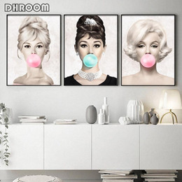 Famous oil Figure paintings online shopping - Famous Star Posters and Prints Audrey Hepburn Marilyn Monroe Bubble Gum Wall Art Poster Modern Art Wall Picture Woman Home Decor
