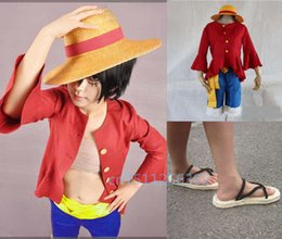 luffy clothing Australia - anime One piece Monkey D. Luffy Cosplay Costumes Summer Clothing Set For children birthdayParty Hat + shirt + trousers shoes