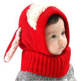 baby boy skull crochet beanies Australia - Winter Baby Hat Neck Warmer Joint Kids Children Dog Caps for Boys Girls Crochet Knitted Beanie Hats Infant Toddler Fashion