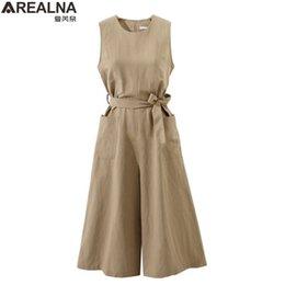 $enCountryForm.capitalKeyWord NZ - Elegant Thin Jumpsuits For Women Summer Sleeveless Sexy Waist Belt Casual Loose Ladies Playsuits Plus Size 4xl Wide Leg Rompers Y19060501
