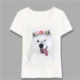 af1c53068 New Pretty Samoyed Dog Design Women T-Shirt Dog Elegant Sketch Female T  Shirt Summer Casual Tops Fun Cute Girl Tees Harajuku