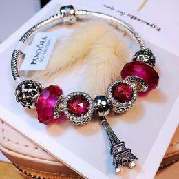 Pandora leather bracelet charms online shopping - 2019 new pandora charms luxury designer jewelry women Pandora Bracelet Sterling Silver Lady Bracelet snow pendant bead string