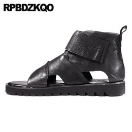e680728d772863 Boots free shipping Italian Japanese Roman Black Flat Casual 2018 Shoes  Breathable Men Gladiator Sandals Summer Genuine Leather High Quality